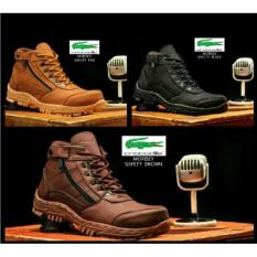 Sepatu Ankle Boots Stylish N Kokoh Pria / Crocodile Morisey Safety Termurah - Black Size 43
