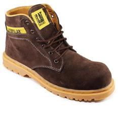 Sepatu boot pria caterpillar safety shoes, sepatu pria caterpillar, caterpilar boot middle coklat kopi suede, sepatu gunung