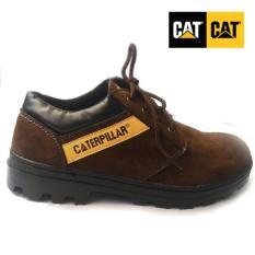 Sepatu boot pria caterpillar safety shoes, sepatu pria caterpillar, caterpilar coklat tua suede pendek, sepatu gunung, sepatu safety caterpillar