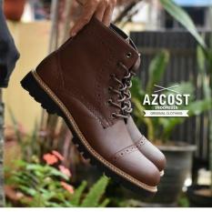 Sepatu Boots Original Kulit Asli Model Terbaru Pria - AZCOST PEDRO - Brown