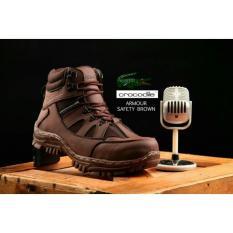 Sepatu boots safety armor pria crocodile Hiking Touring proyek kerja lapangan ujung besi kulit import murah