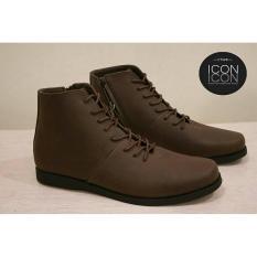 Sepatu Brodo full black Formal boots resleting kerja kantor