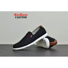 Sepatu Casual Pria Slip On Pria Kickers Calvino - Free Kaos Kaki