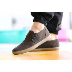 Sepatu casual santai slip on slop formal pria sneaker warna coklat kualitas bagus
