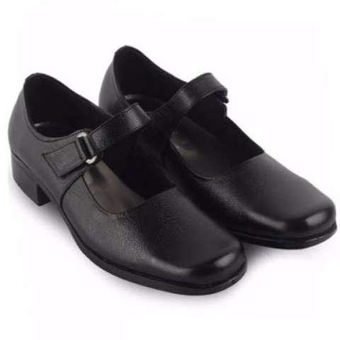 Sepatu Cewek Pantofel Formal Paskibra Pengibar Bendera Kulit - Hitam
