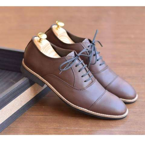 Sepatu Formal Kulit Asli Pria Casual Branded - AZCOST CAP TOE OXFORD - Brown a6a02737bc