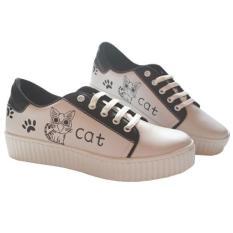 Sepatu Kets Wanita Sneaker Non Wakai Bukan Slip On Cat - Hitam