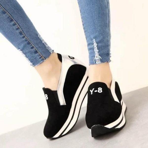 Sepatu Kets Wedges Slip On Baru Loafers Hitam Maroon Murah