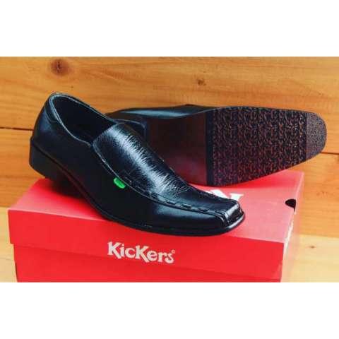 Sepatu Pantofel Pria Kulit Asli Kickers Low Rajut Formal Kerja Kantoran Slop  Casual - Free Kaos ddb0015035