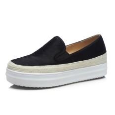 Carrefour Bulu Kuda Musim Semi Dan Musim Gugur Baru Perempuan Sol Tebal Sepatu (Hitam)