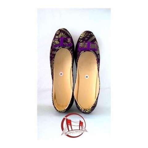Sepatu Songket Palembang Ungu Ukuran 36