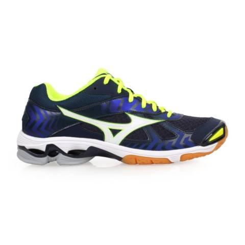 Sepatu voli Mizuno V1GA186023 Wave Bolt 7 - Dress Blues White Safety Yellow