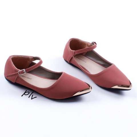 Pluvia - Sepatu Flat Shoes Wanita Terbaru Mary Jane AG06 - Salem