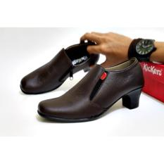 Sepatu Wedges Heels Wanita Kickers Zipper Kulit Asli - Free Kaos Kaki