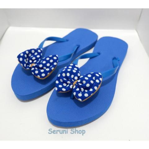 Seruni Flat Sandals Jepit Pita Polka Blue