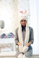 Set Hewan Bentuk Baotou Topi Syal (Kelinci Putih)