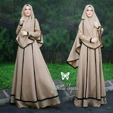 Set Muslim Imelda / Gamis Fashion Maxi / Syari Simple Elegant / Baju Muslim Wanita (nettaja) SS - Mocca