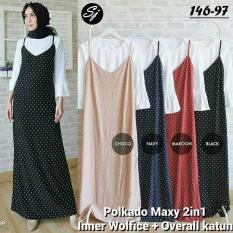 Setelan Hijab Murah / Baju Polkadot Wanita / Dress : Polkado Maxy 2In1
