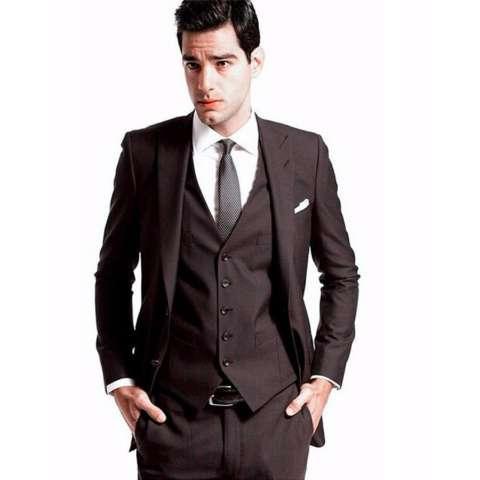 Setelan Jas Pria Lengkap Double Button (Include Celana & Vest) - Warna Hitam