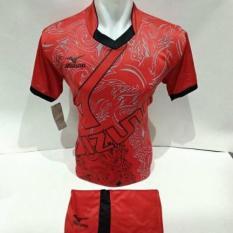 setelan olahraga kaos bola jersey futsal baju volly mizuno abstrak merah