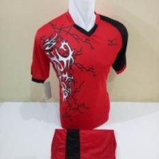 setelan olahraga kaos bola jersey futsal baju volly mizuno lightning merah