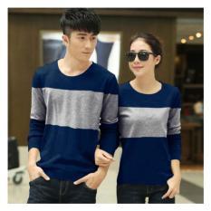 Shoppaholic Shop Baju Couple Stripe Two Tone - Navy / Kaos Oblong / Kaos Pasangan / Kaos Couple / Pakaian Kembar / Baju Muslim Wanita / Baju Muslim Pria / Couple