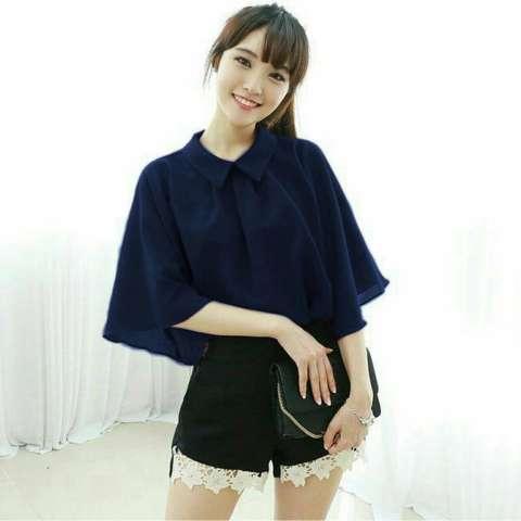 Shoppaholic Shop Blouse Wanita Gili - Navy / Baju Wanita / Blouse Korea / Atasan Wanita