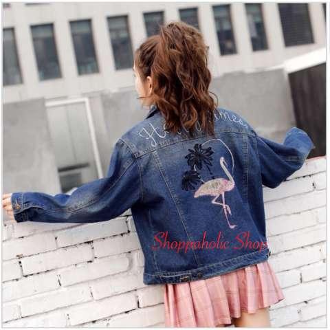 Shopping Yukz Jaket Jeans Denim Big Size Wanita Vitz Dark Blue ... e7317ec53a
