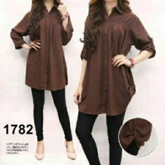 Shoppaholic Shop Kemeja Wanita Jumbo Polos - Coklat Tua / Baju Jumbo / Kemeja Jumbo / Big Size / Baju Jumbo Wanita / Baju Muslim Jumbo / Baju Ukuran Besar / XL / XXL / Baju Muslim