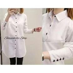 Shoppaholic Shop Tunik Wanita Aqua - Putih / Baju Wanita / Blouse Korea / Atasan Wanita / Baju Formal / Kemeja Wanita / Kemeja Formal / Atasan Muslim / Kemeja Cewek Tunik