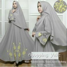 Shopping Yukz Baju Gamis Dress Muslim Syari Wanita EYYA BORDIR - ABU ( Dapat Jilbab ) / Hijab Muslimah / Baju Muslimah Wanita / Syari Syari'i Muslim / Gaun Muslim / Long Dress Muslimah Wanita