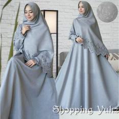 Shopping Yukz Baju Gamis Dress Muslim Syari Wanita RESYIA Emboss+Laser  - ABU ( Dapat Jilbab ) / Hijab Muslimah / Baju Muslimah Wanita / Syari Syari'i Muslim / Gaun Muslim / Long Dress Muslimah Wanita