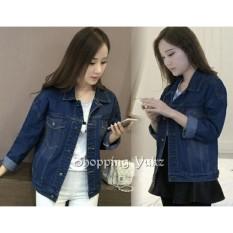 Shopping Yukz Jaket Jeans Big Size Wanita LEVVY - DARK BLUE (Kualitas Premium) / Jaket Jumbo Wanita / Jaket Oversize Wanita / Jaket Denim Oversize / Jaket Denim Cewek / Jaket Wanita