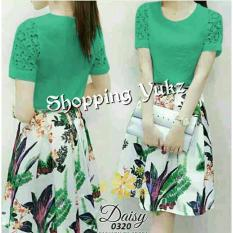 Shopping Yukz Midi Dress Brukat Wanita FIORE - TOSCA / Dress Korea / Dress Renda / Lace Dress / Gaun Pesta
