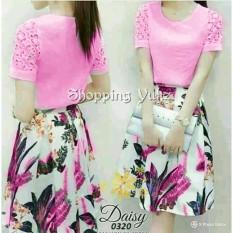 Shopping Yukz Midi Dress Wanita FIORE - PINK / Dress Korea / Gaun Wanita / Gaun Midi / Gaun Pesta / Baju Pesta