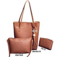 Shoulders Bag Korean Style Mischa 3 in 1 (Shoulders Bag/ Tas Bahu, Sling Bag/ Tas Selempang, Pouch/ Dompet) Brown