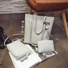 Shoulders Bag Korean Style Mischa 3 in 1 (Shoulders Bag/ Tas Bahu, Sling Bag/ Tas Selempang, Pouch/ Dompet) Grey
