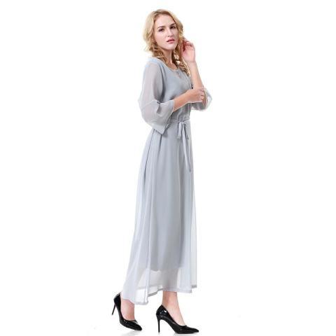 Kecil Wow Muslim 3/4 Lengan Segera Hubungi Kami untuk Mendapatkan Produk Gamis Warna Solid Chiffon Lantai Panjang Baju Jubah Grey-Intl 1