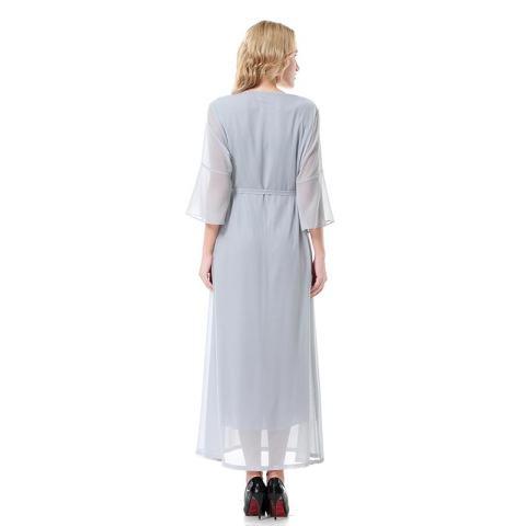 Kecil Wow Muslim 3/4 Lengan Segera Hubungi Kami untuk Mendapatkan Produk Gamis Warna Solid Chiffon Lantai Panjang Baju Jubah Grey-Intl 2
