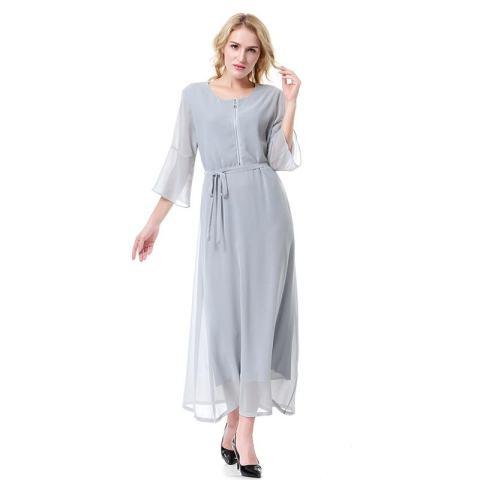 Kecil Wow Muslim 3/4 Lengan Segera Hubungi Kami untuk Mendapatkan Produk Gamis Warna Solid Chiffon Lantai Panjang Baju Jubah Grey-Intl 3