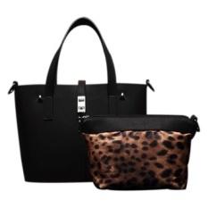 SoKaNo Trendz Premium PU Leather Tote Bag Set Of 2 Black