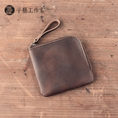 [Son skill]the handicraft skin have Sen to fasten to revive old customs the leather creativity square zipper purse small change to wrap coin to wrap card to wrap - intl
