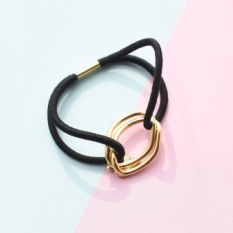 South korean imports of website selling mo love fall into simple metal ring hair band RUBBER band/HEADROPE KFQ1553 (Black)