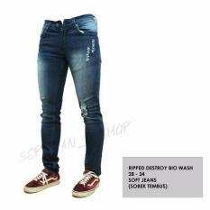 SR_Cloth Celana Jeans Pria dan Wanita Sobek Ripped Scraf Premium Biowash