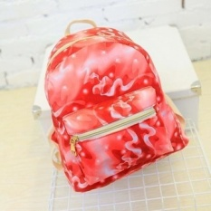 Stylish Canvas Bag Colorful Print Cosmic Pattern Backpacks School Bag Red