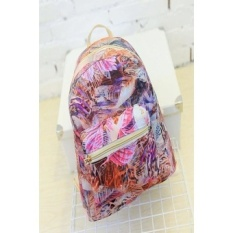 Stylish Canvas Bag Colorful Print Cosmic Pattern Backpacks School Bag Purple