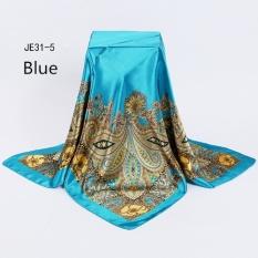 Stylish Floral Sutra Jilbab Wanita Selendang Biru 90 Cm Women Square Syal Besar Ditiru Syal Sutra dan Stola Floral Tipis Hak Tinggi Aksen Pita Model Pump Pashmina Selendang dan Wraps Ring Syal-Intl