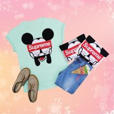 Supreme Mickey #C131104 T-shirt Wanita / Kaos Cewek / Tumblr Tee Cewek / Kaos Wanita Murah / Baju Wanita Murah / Kaos Lengan Pendek / Kaos Oblong / Kaos Tulisan