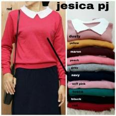 Sweater Wanita Rajut Lengan Panjang / Kaos Tshirt Wanita Polos / Vneck / Formal Jalan Santai Kasual (ssicaje kw) NR - Navy