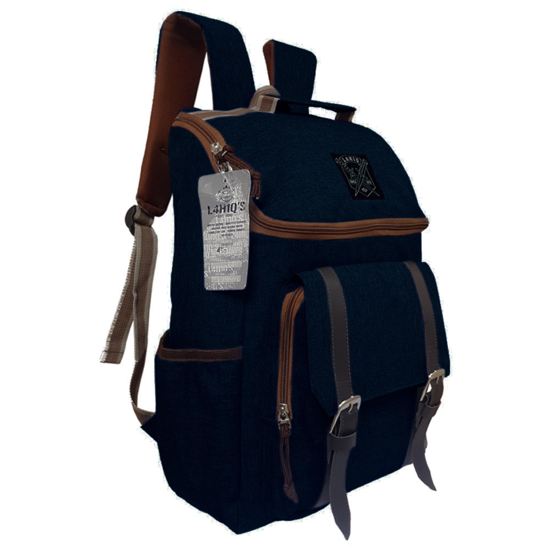 Tas Backpack Pria Wanita Kanvas   Punggung   Ransel Kuliah   Korean Bag  LLC7202 - Black ce594c111e